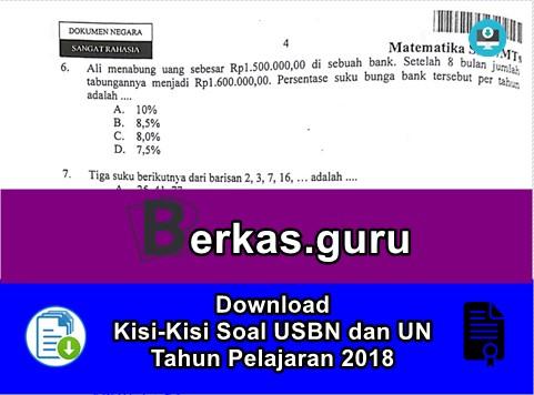Download Kisi-Kisi Soal USBN dan UN Tahun Pelajaran 2018