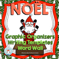 French Christmas Word Wall, Graphic Organizers, and Writing Templates - français