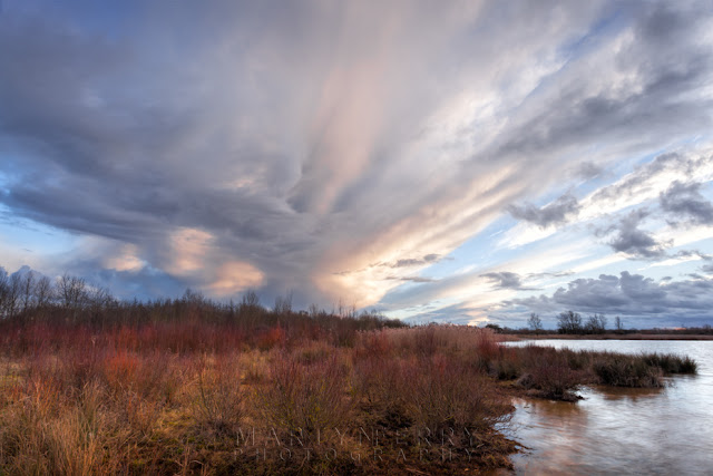 Stormy evening clouds above the Nature Reserve at Ouse Fen