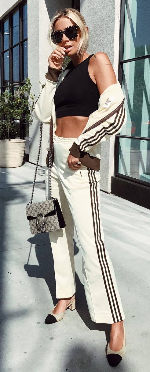 street style obsession / bag + crop + top + heels + sporty set