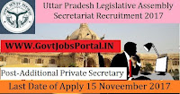 Uttar Pradesh Legislative Assembly Secretariat Recruitment 2017– Additional Private Secretary