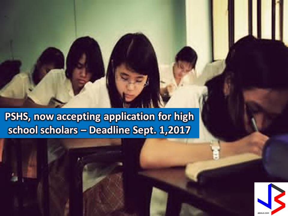 When we hear about the scholarship, we often think it is for college students only. But don't you know that here in the Philippines, there's a scholarship for high school students where tuition and text books are free, plus a monthly stipend, and allowances for uniform, transportation, and living allowance if you are in low-income groups.  This scholarship is from Philippine Science High School (PSHS) if the applicant can pass the National Competitive Examination.  This year, PSHS is calling for interested applicants to be institutions scholar. Remember the deadline for application is on September 1, 2017, and the date of examination is on October 21, 2017.