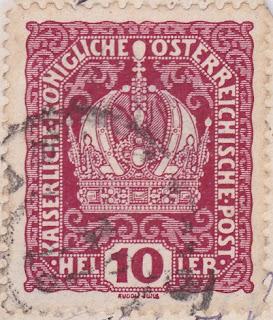 Briefmarke 10 Heller Kaiserliche Königliche Österreichische Post, Gestaltung: Rudolf Junk.