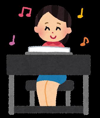 エレクトーンを弾いている女性のイラスト
