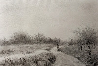 Pencil drawing of a landscape in sketch book