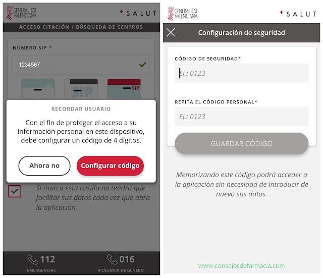 App GVA Mes Salut - clave de seguridad