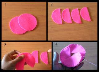Cara membuat mawar kuncup dari kain flanel part 1
