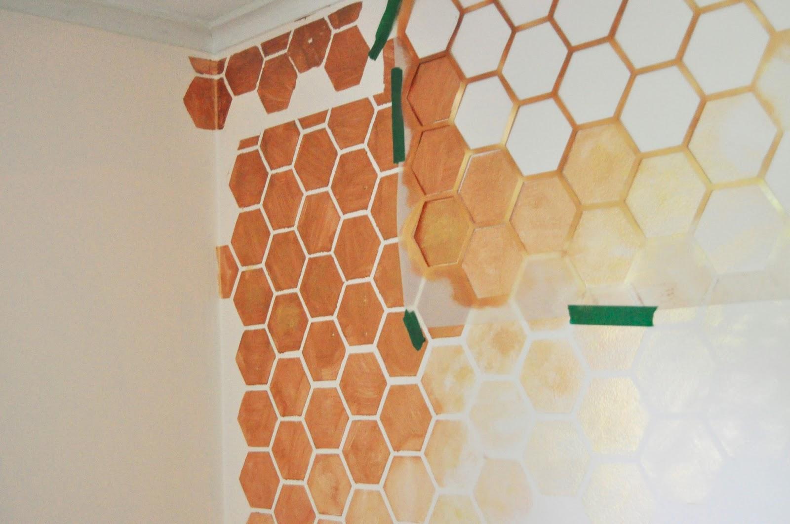 Honeycomb Wall Stencil DIY for Nursery