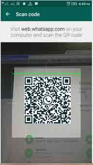 WhatsApp web QR code scaning