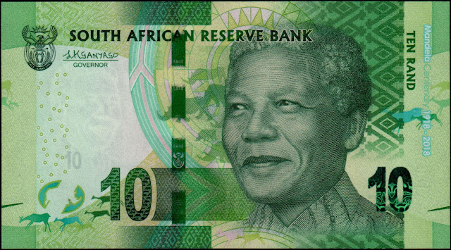 South African Currency 10 Rand Commemorative banknote 2018 Nelson Mandela Centenary