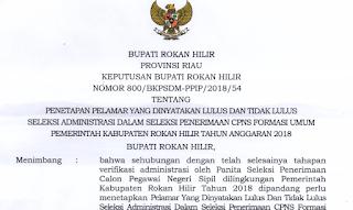 Hasil Seleksi Administrasi CPNS 2018 Kabupaten Rokan Hilir
