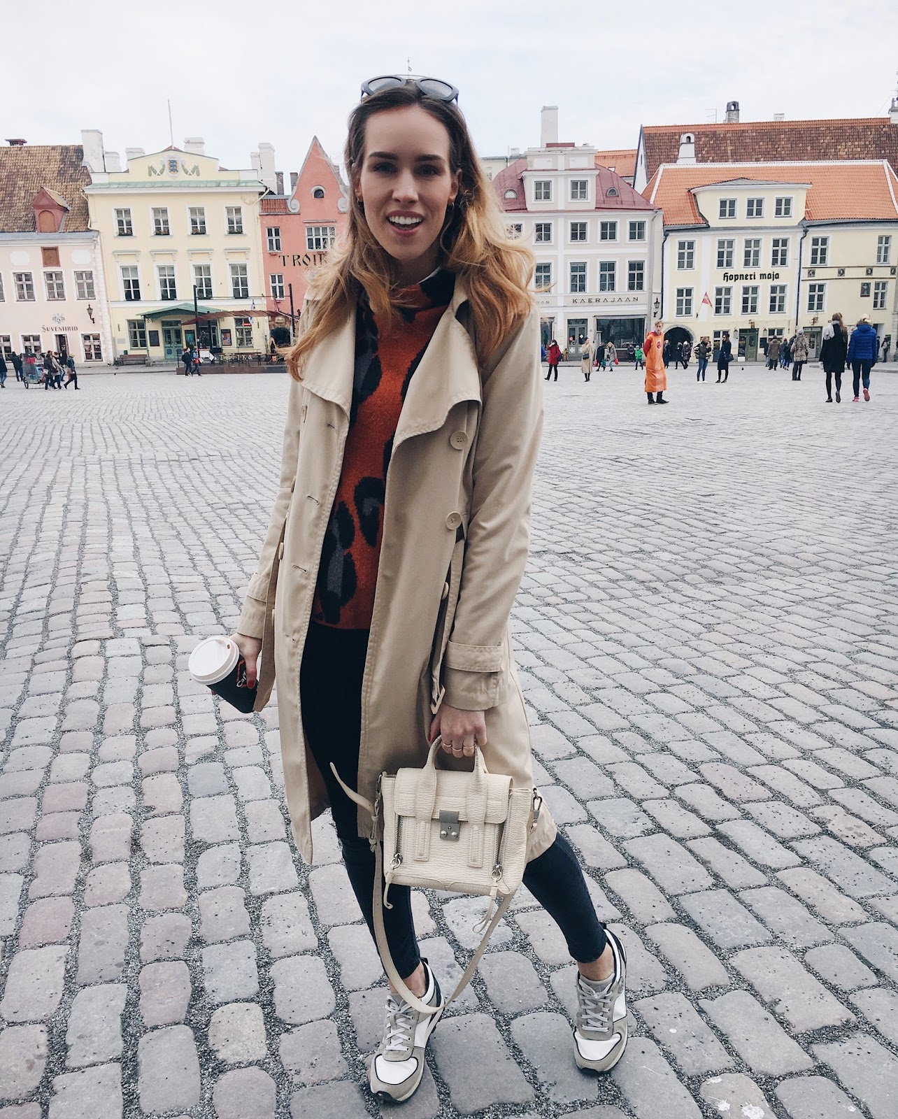 long beige trench coat sneakers outfit