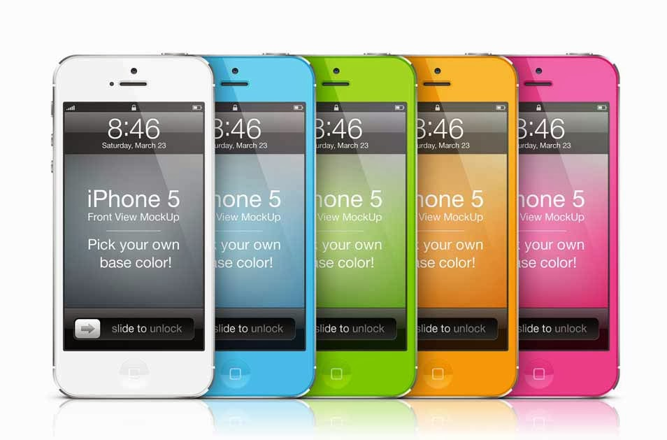 Colorful iPhone 5 MockUp Template