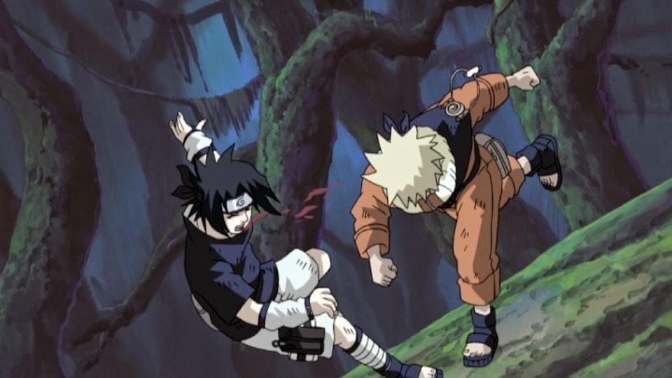 Naruto golpea a Sasuke
