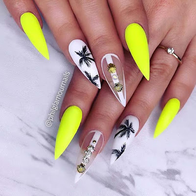 Neon Yellow Nail and Tropical Palm Trees