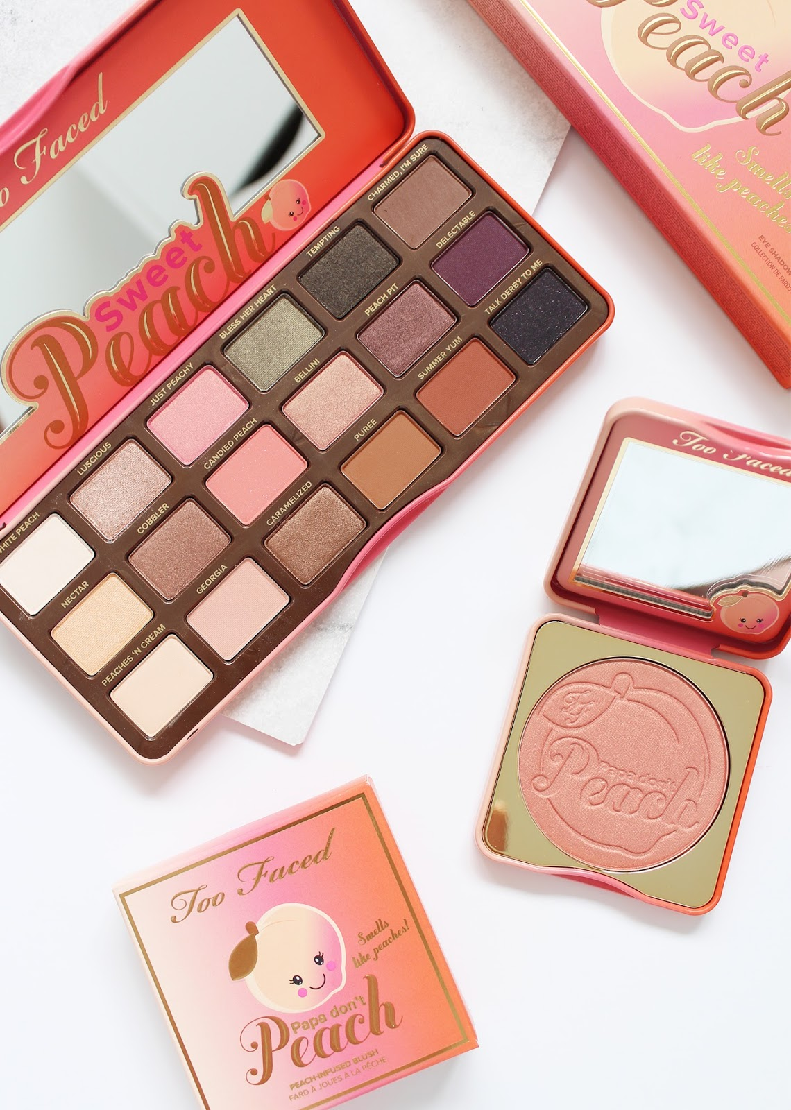 TOO FACED | Sweet Peach Eyeshadow Collection + Papa Don't Peach Peach-Infused Blush - Review + Swatches - CassandraMyee