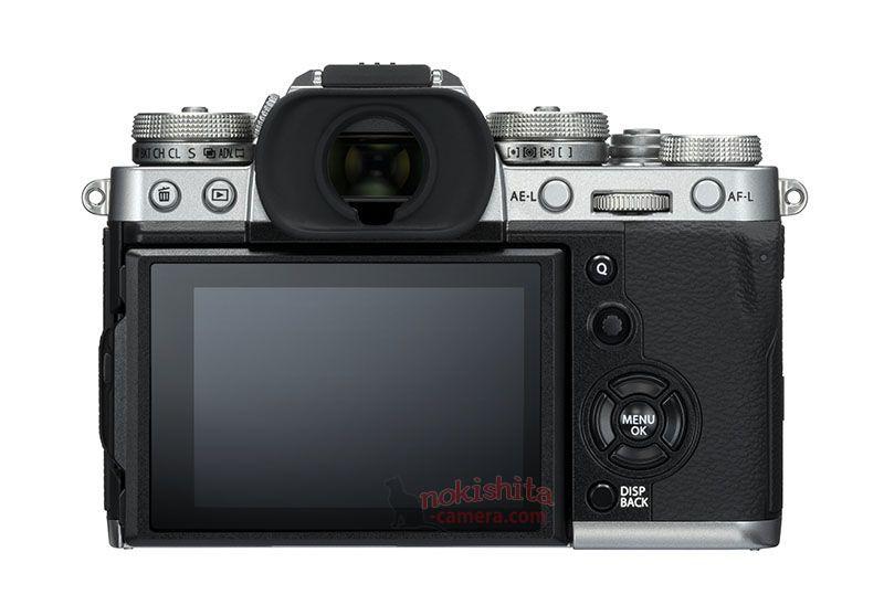 Fujifilm X-T3, вид сзади, серебристый