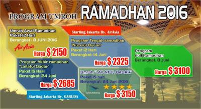 harga umroh ramadhan 2016