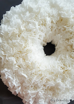 Learn how to make a Coffee Filter White Wreath at diy beautify