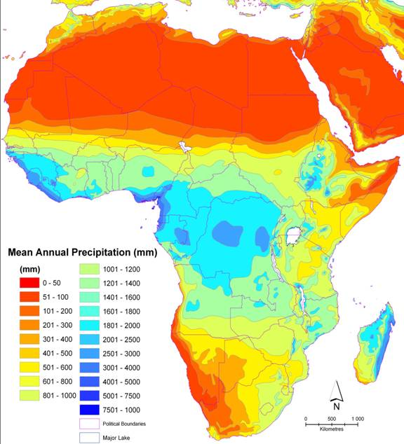 Cartina Precipitazioni Annue in Africa