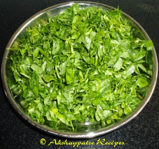 chopped methi to make sabzi