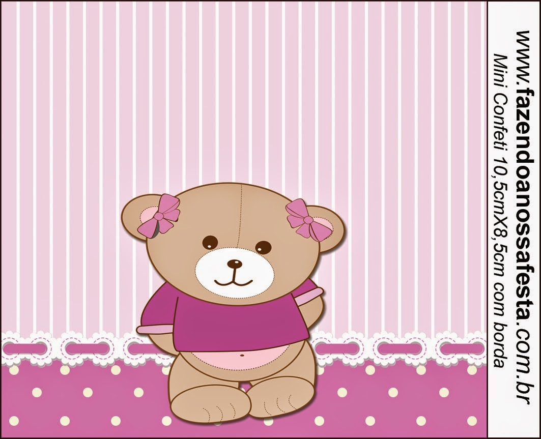 Cute Girl Bear in Lilac Free Printable Candy Bar Labels.