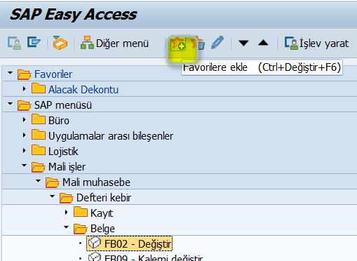 SAP Favoriler menüsü