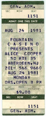 Alice Cooper ticket at The Fountain Casino 1981