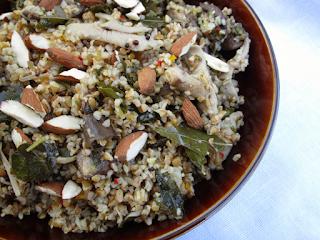 Bulgar Wheat and Mixed Mushroom Pilaf with Cilantro Chutney