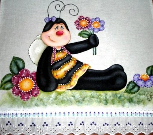 pintura em tecido pano de prato abelha