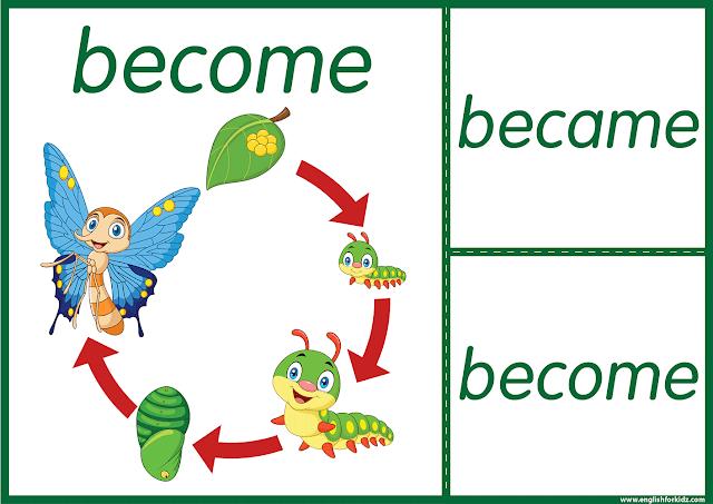 Irregular verb become - printable ESL flashcards