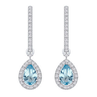 Velvetcase.com- Aquamarine and Diamond accent Earring - Rs 26,159