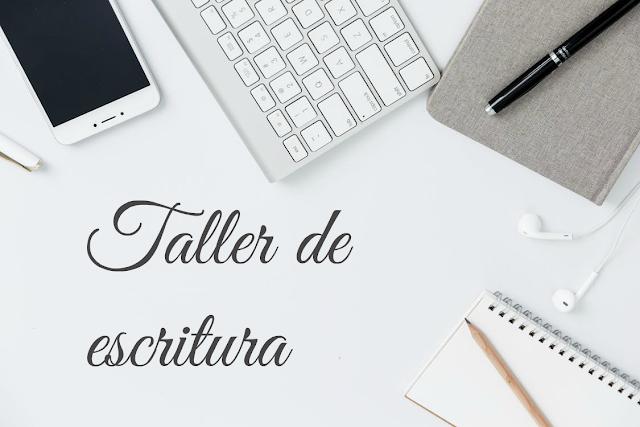 Taller de escritura: libreta, agenda, plumna, teclado y móvil sobre fondo blanco.