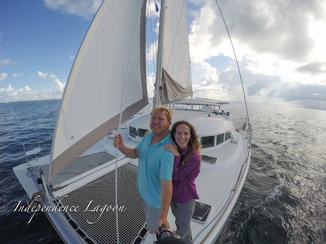 Matt and Lucy sail their Lagoon 380 catamaran in the Florida Keys