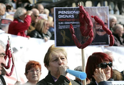 Manifestación de pensionistas y jubilados en Bilbao