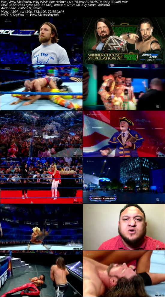 Screen Shoot of WWE Smackdown Live 15 May 2018 HDTV 480p 300MB