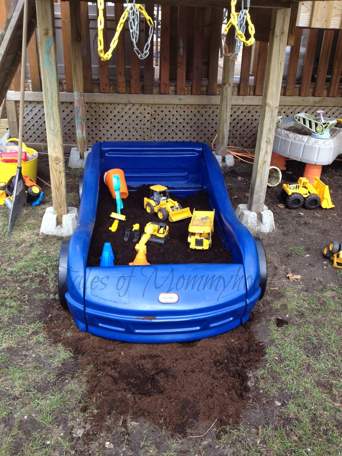 little tikes, car bed, race car, bed frame, sand box, dirt box, outdoor fun, DIY