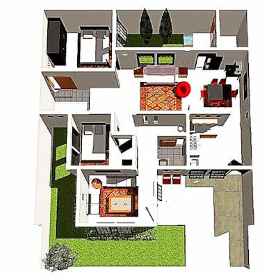 Bentuk Denah Rumah Sederhana Tapi mewah ukuran 6x9