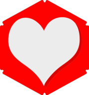 heart hexagon icon