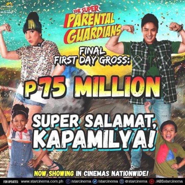 Super Parental Guardians makes a whooping P75 milliion on its first day at the box office