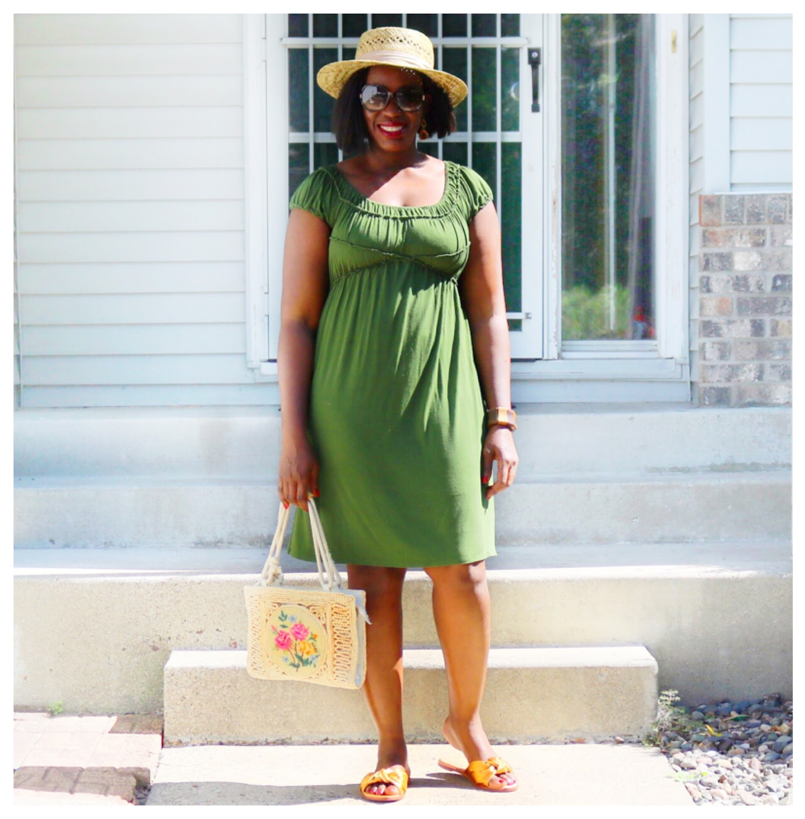Beauty's Fashion Zone: Olive Color Dress + Orange Color Slides
