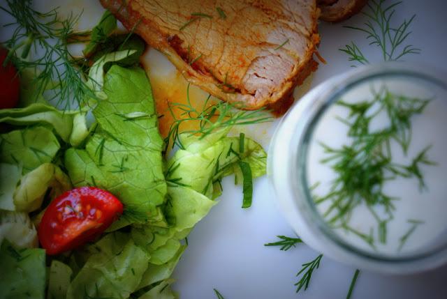 schabowy, pieczony schab,musztarda,develey,maslanka,kefir,sałatka,koperek,fit jedzenie,zdrowe odżywianie,lekkie jedzenie,dieta, (1)