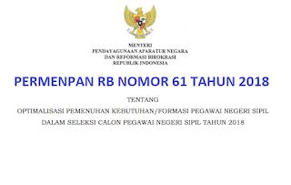 Peraturan Menpan, Permenpan RB Nomor 61 Tahun 2018