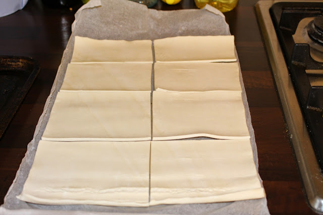 cutting pastry squares