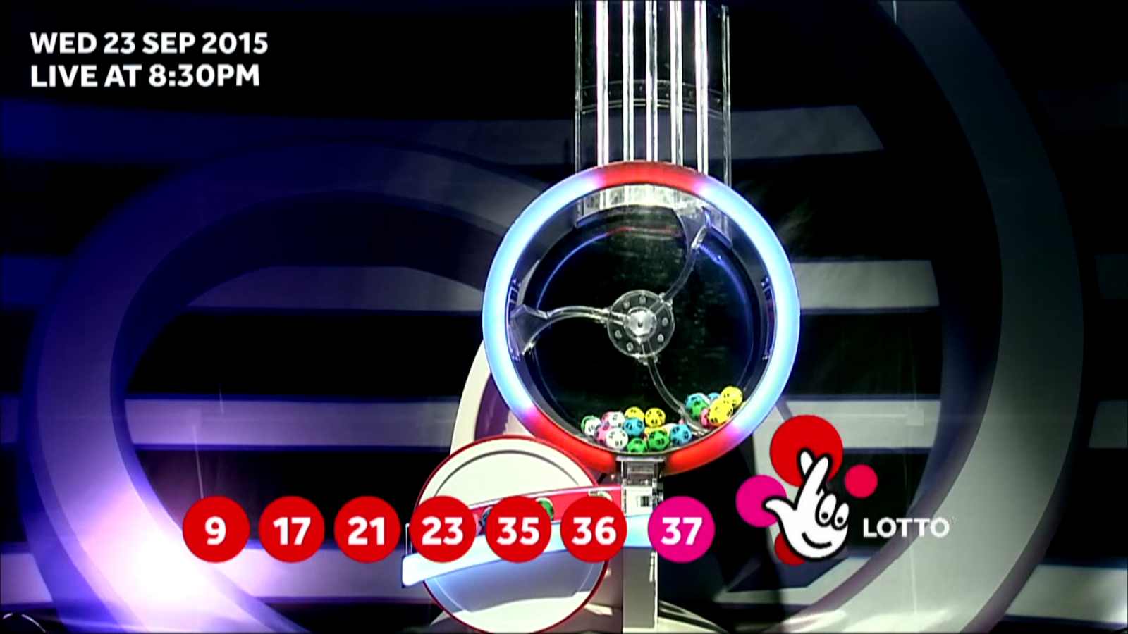 The National Lottery 'Lotto' draw results from Wednesday 23rd September 2015 - 09,17,21,23,35,36,Bonus 37