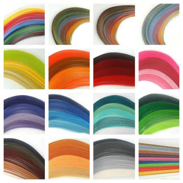 assortment of paper quilling strips