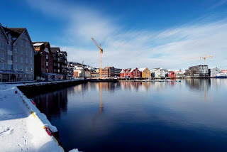 Norway, Tromsø, Winter view of town