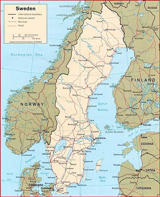 Gambar Peta politik Swedia