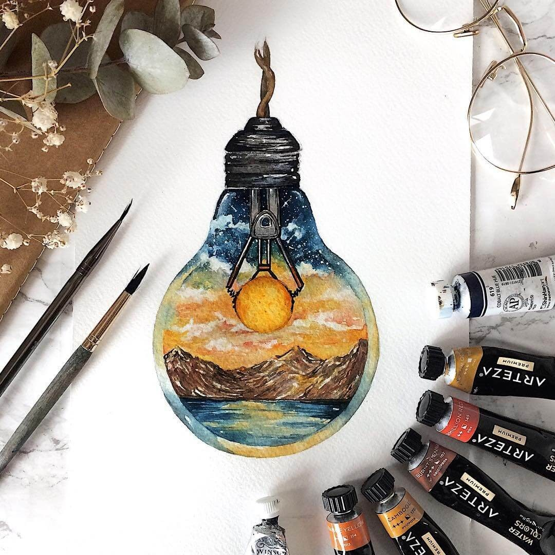 02-The-Sun-Powering-the-Light-Bulb-Tiny-Watercolors-Compasses-Light-Bulbs-and-Trees-www-designstack-co