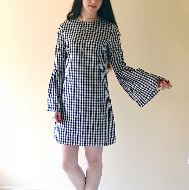 gingham dress with bell sleeves